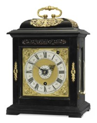 A CHARLES II GILT-BRASS MOUNTED EBONY EIGHT DAY TIMEPIECE TABLE CLOCK WITH PULL QUARTER REPEAT AND ALARM