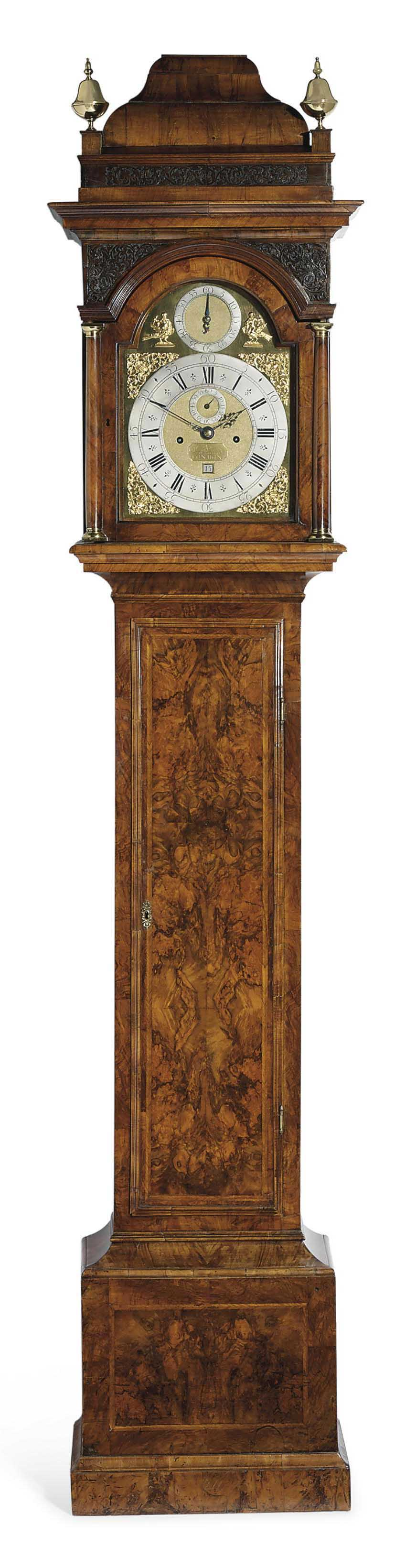A GEORGE I WALNUT MONTH-GOING LONGCASE CLOCK