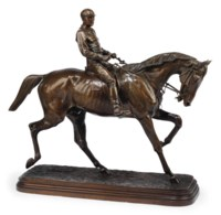 A FRENCH BRONZE GROUP OF A HORSE AND JOCKEY