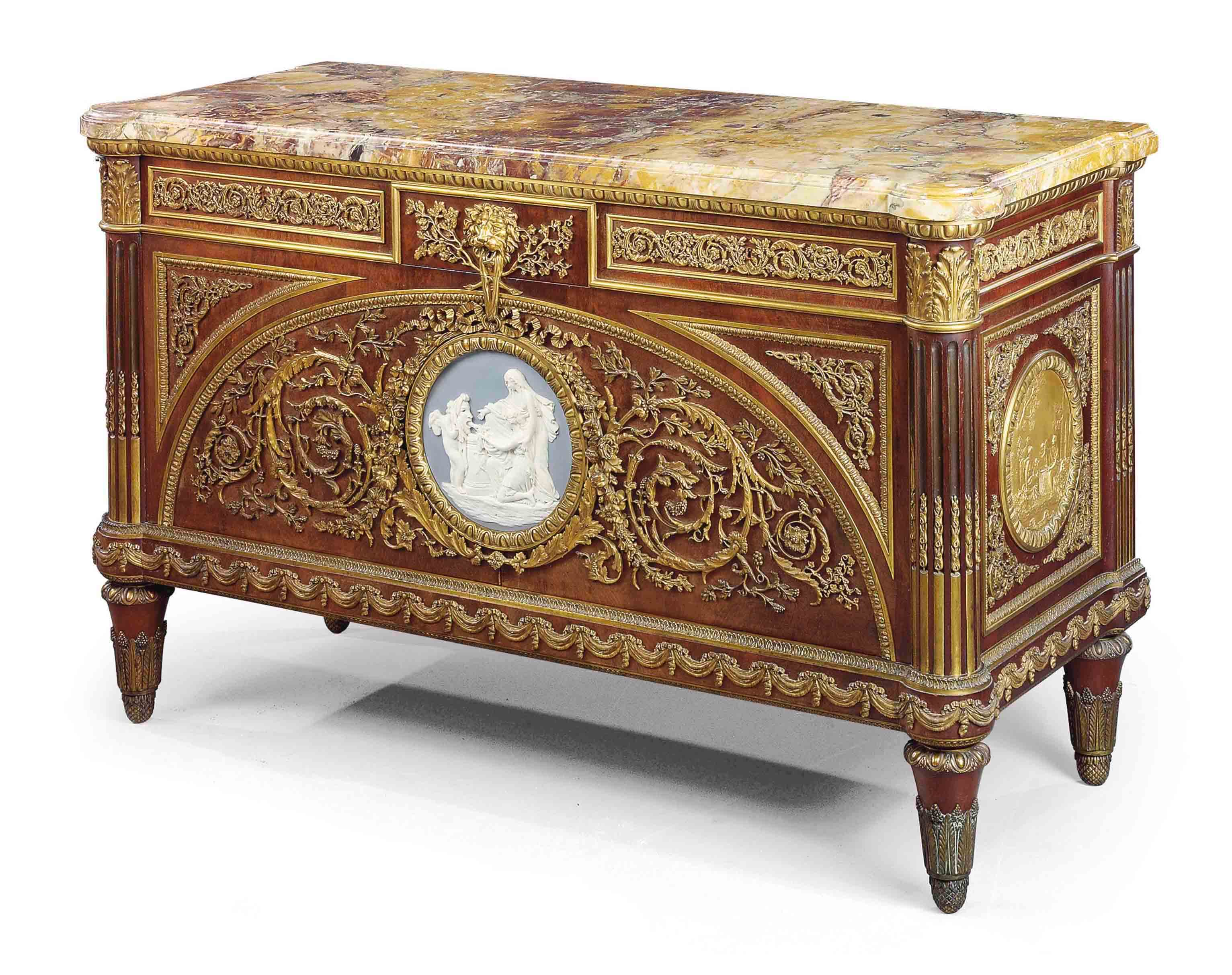 A FRENCH ORMOLU AND WEDGEWOOD