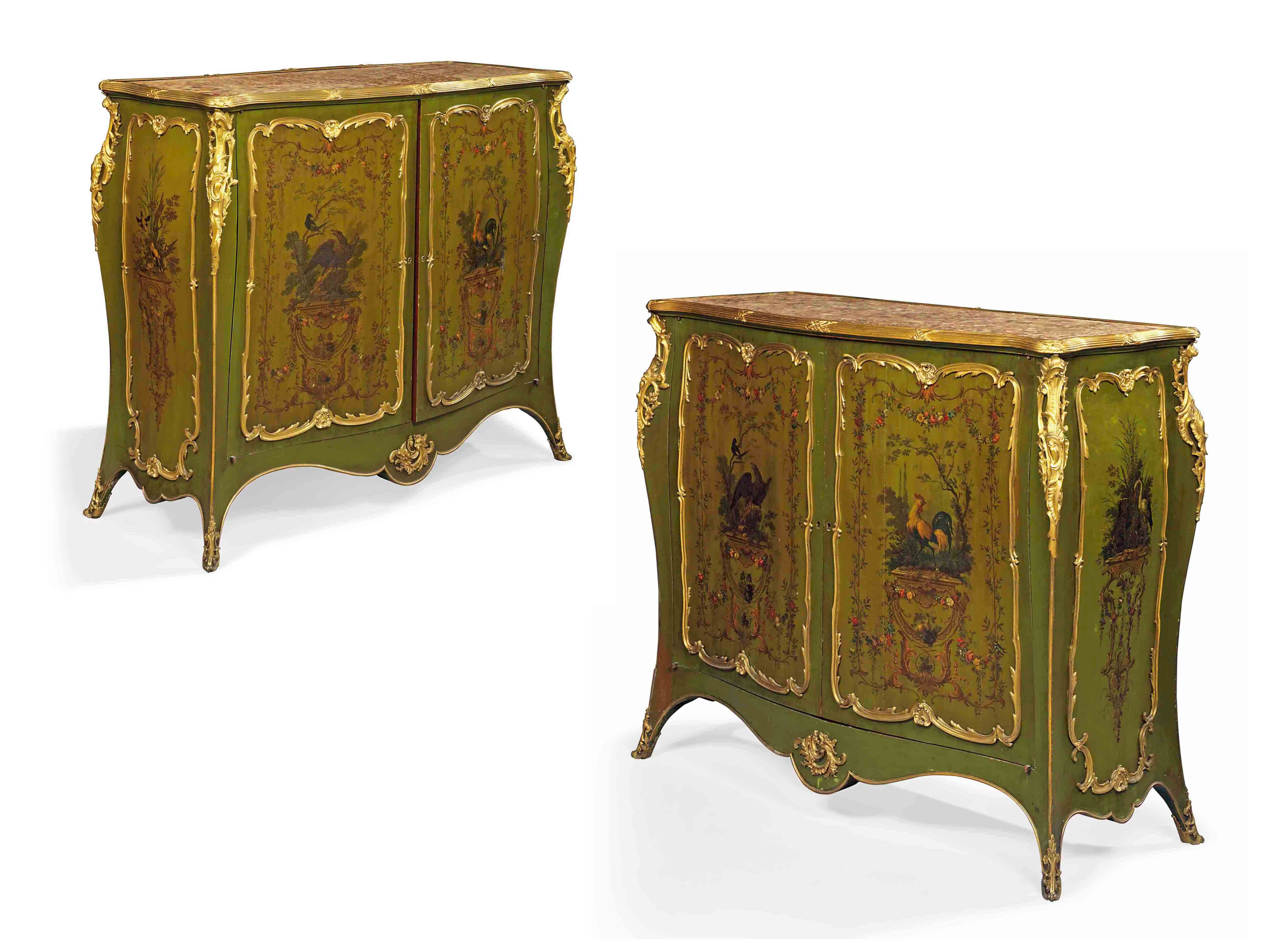 A PAIR OF FRENCH ORMOLU-MOUNTED GREEN LACQUERED MEUBLES D'APPUI