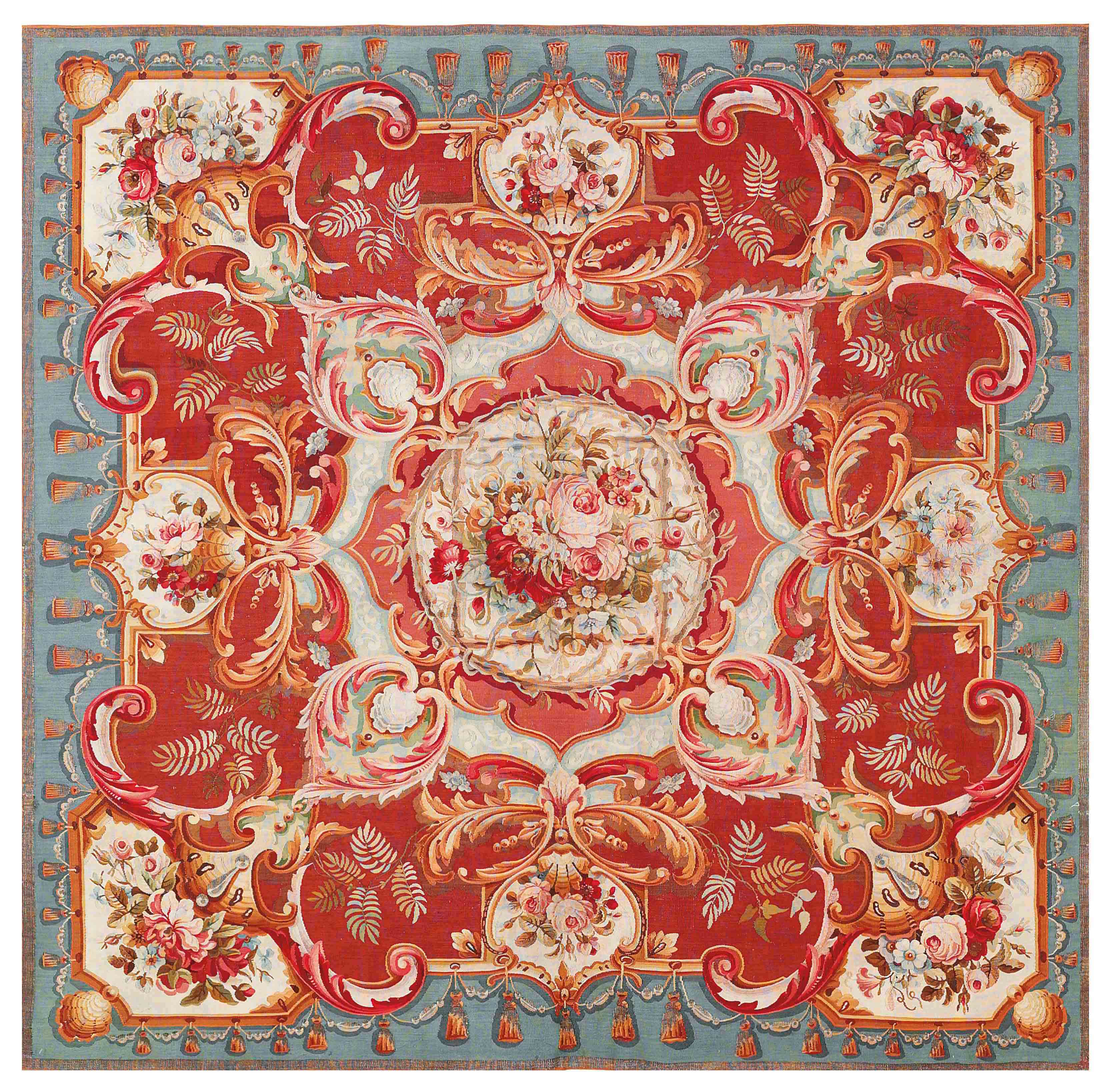 A PART METAL-THREAD AUBUSSON TABLECOVER