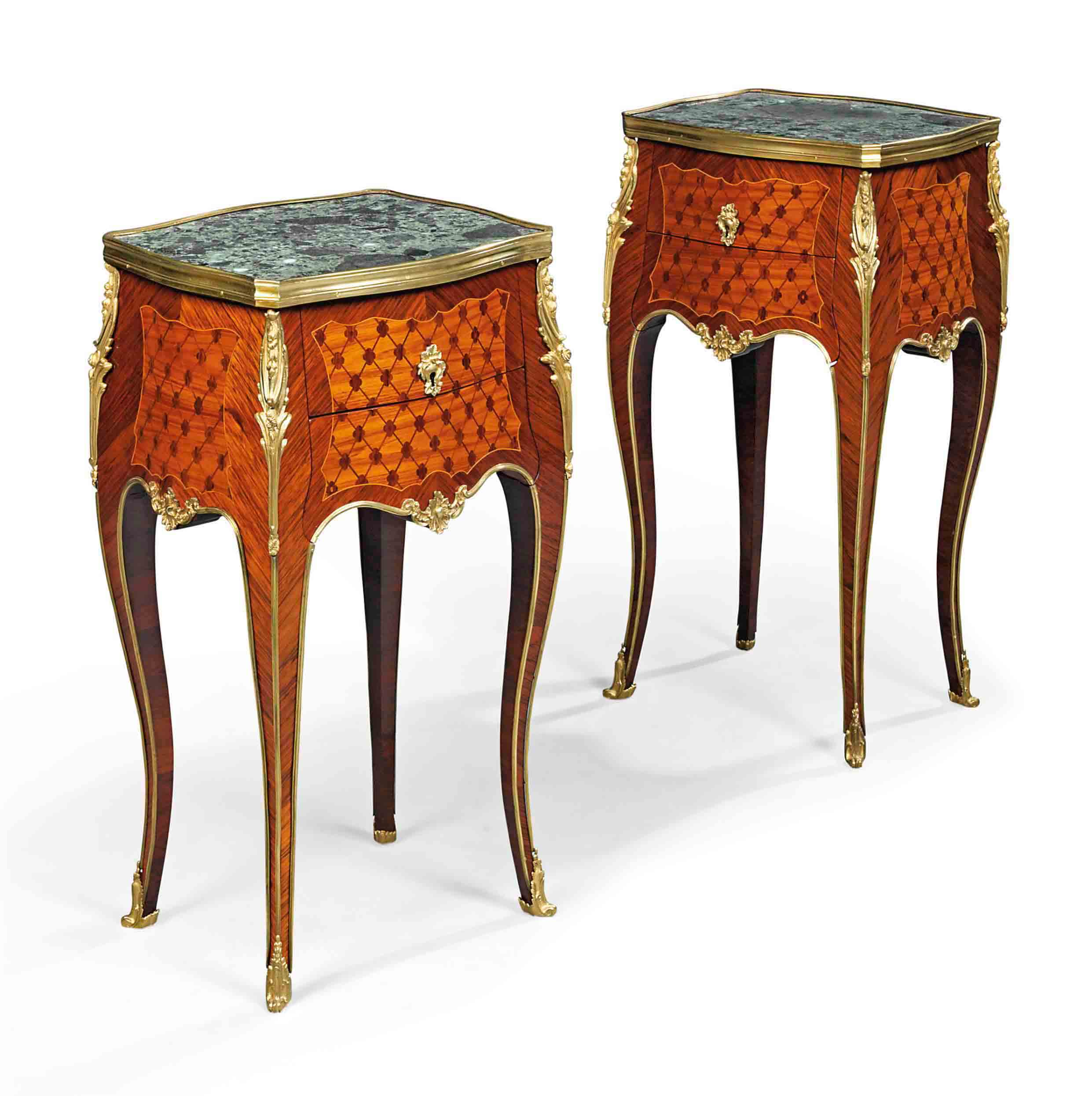 A PAIR OF FRENCH ORMOLU-MOUNTED TULIPWOOD AND KINGWOOD PARQUETRY TABLES DE NUIT