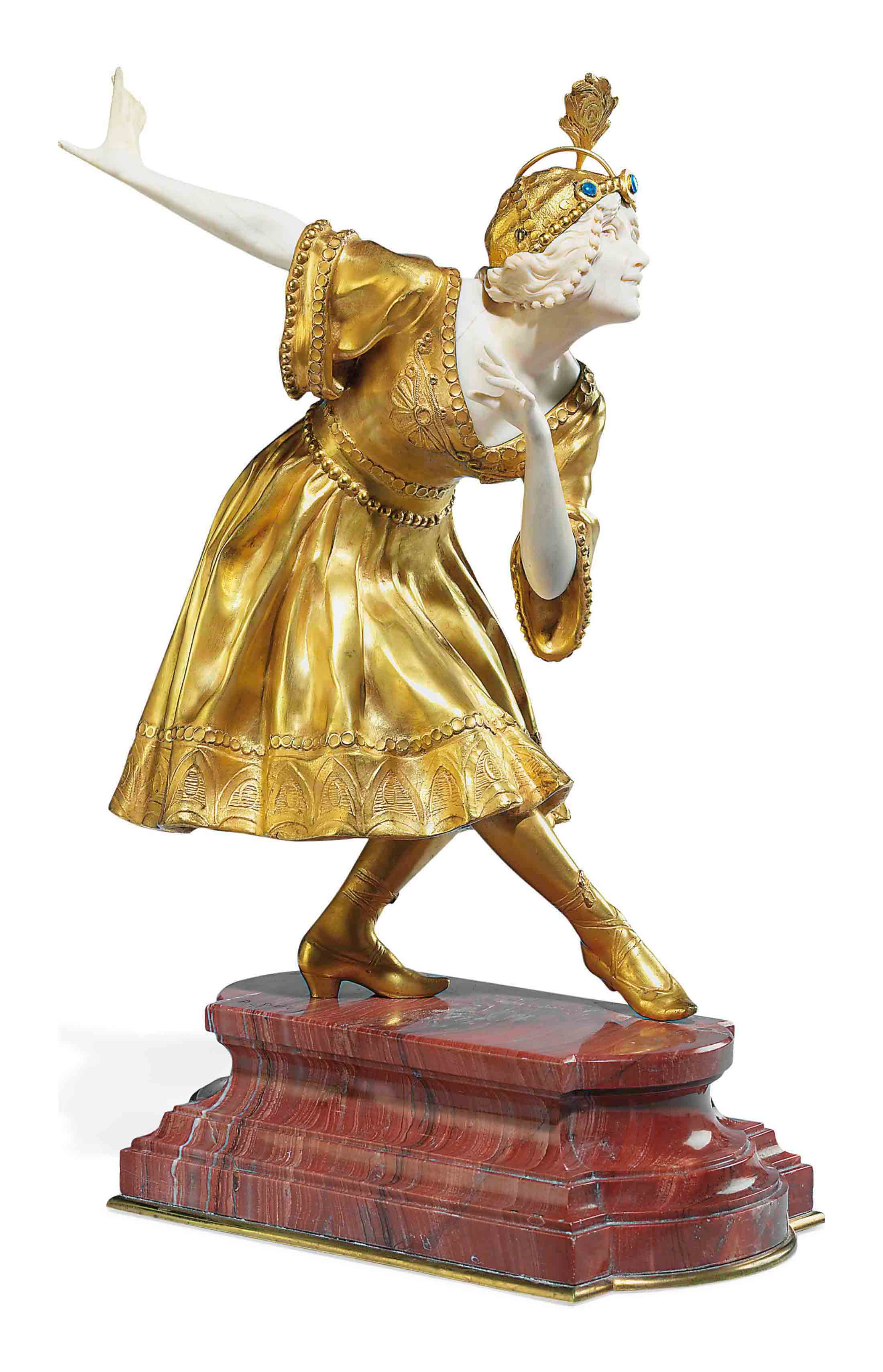 A FRENCH GILT-BRONZE AND IVORY FIGURE OF A DANCING GIRL
