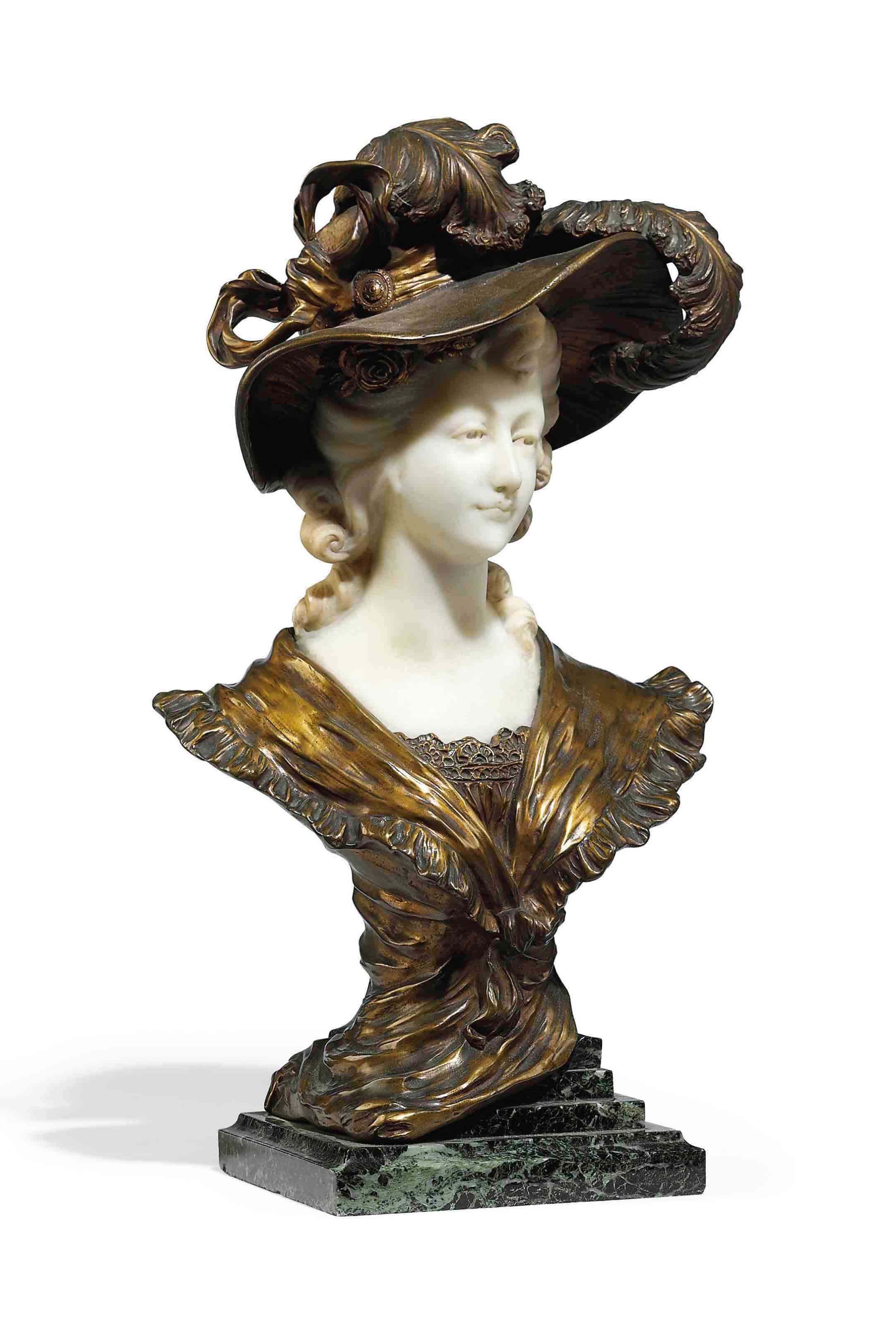 A FRENCH GILT-BRONZE AND MARBLE BUST OF A LADY
