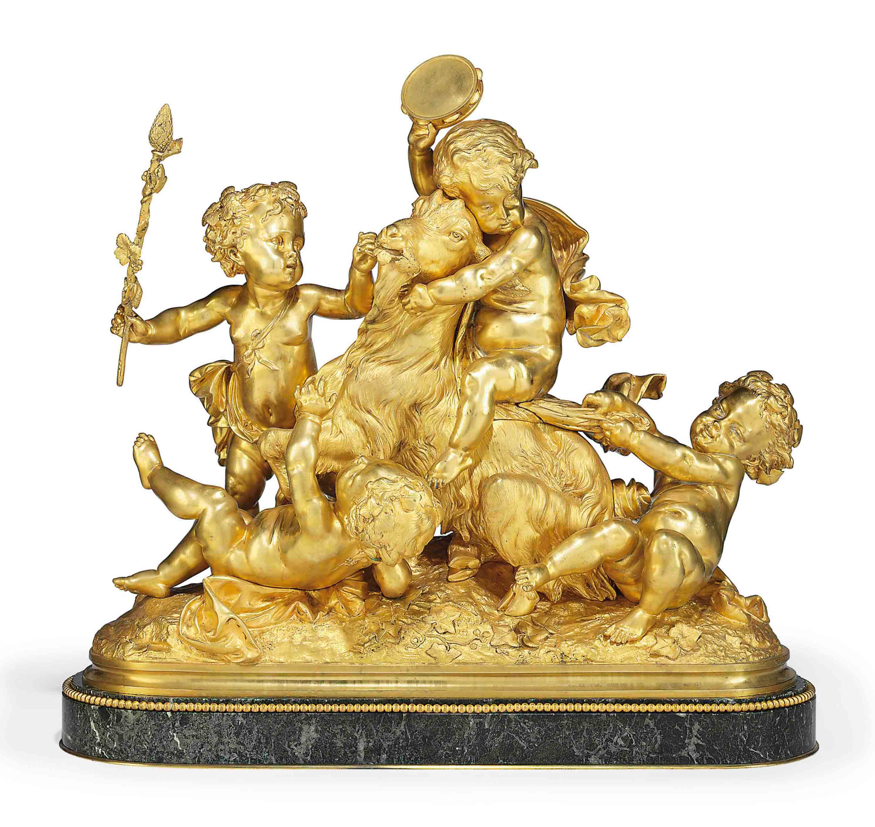 A FRENCH GILT-BRONZE GROUP OF BACCHIC PUTTI