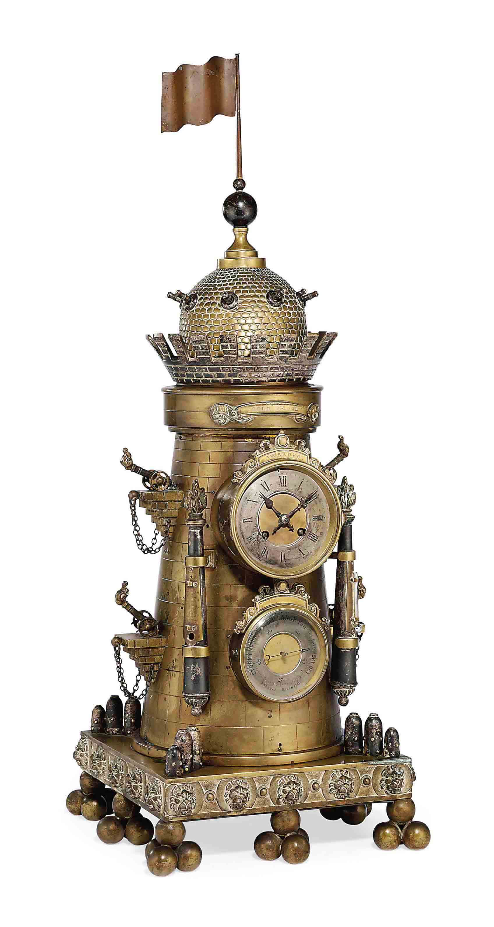 A FRENCH PART-SILVERED BRASS STRIKING NOVELTY CLOCK WITH BAROMETER, THERMOMETERS AND AUTOMATON GUN TURRET