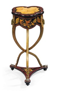 A NAPOLEON III POLYCHROME-PAINTED METAL-MOUNTED AMARANTH, GREEN-STAINED ASH, EBONY AND FRUITWOOD MARQUETRY WORK-TABLE