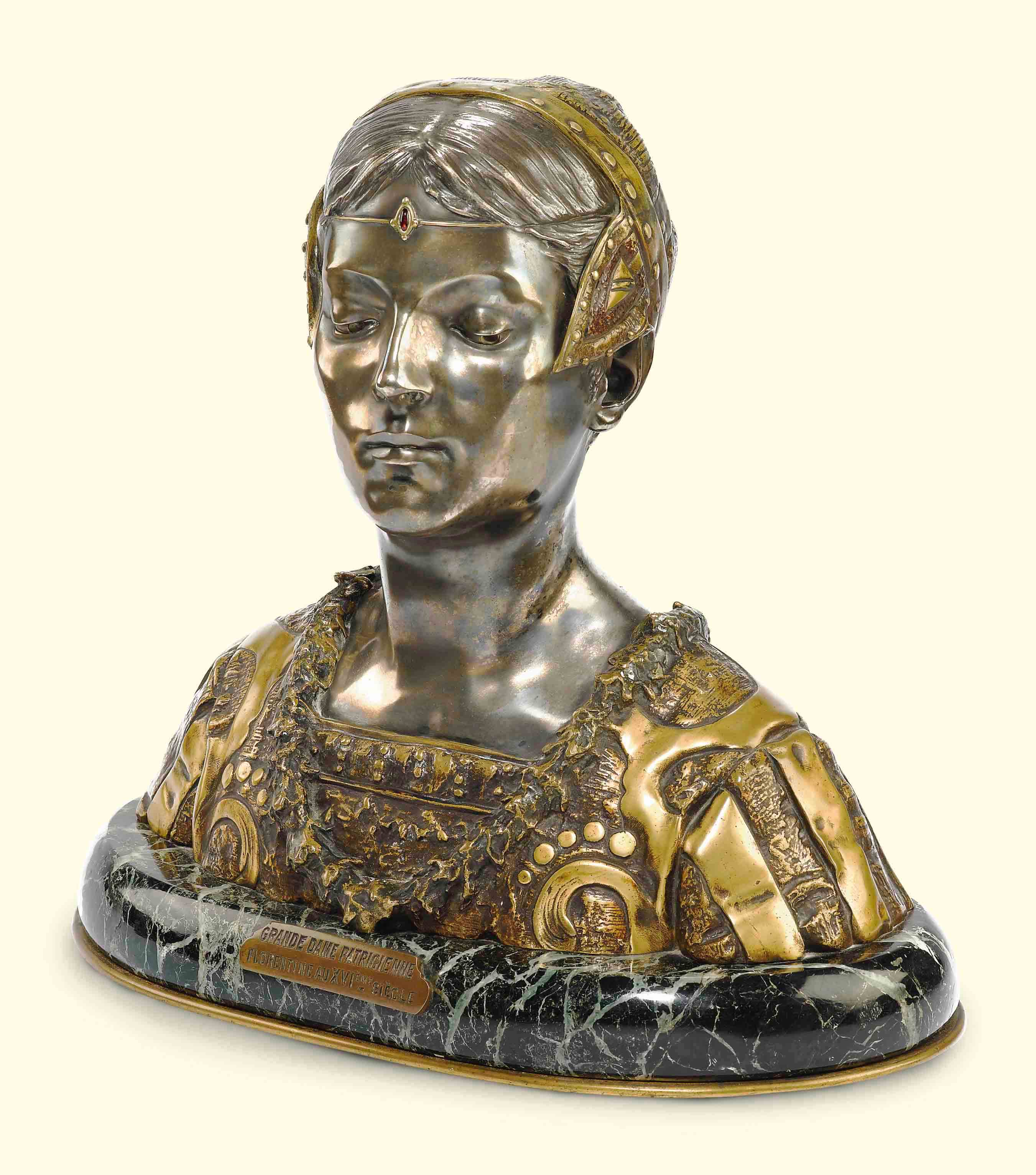 A FRENCH SILVERED, GILT AND POLYCHROME-PATINATED BRONZE BUST ENTITLED 'GRANDE DAME PATRICIENNE FLORENTINE AU XVIEME SIECLE'