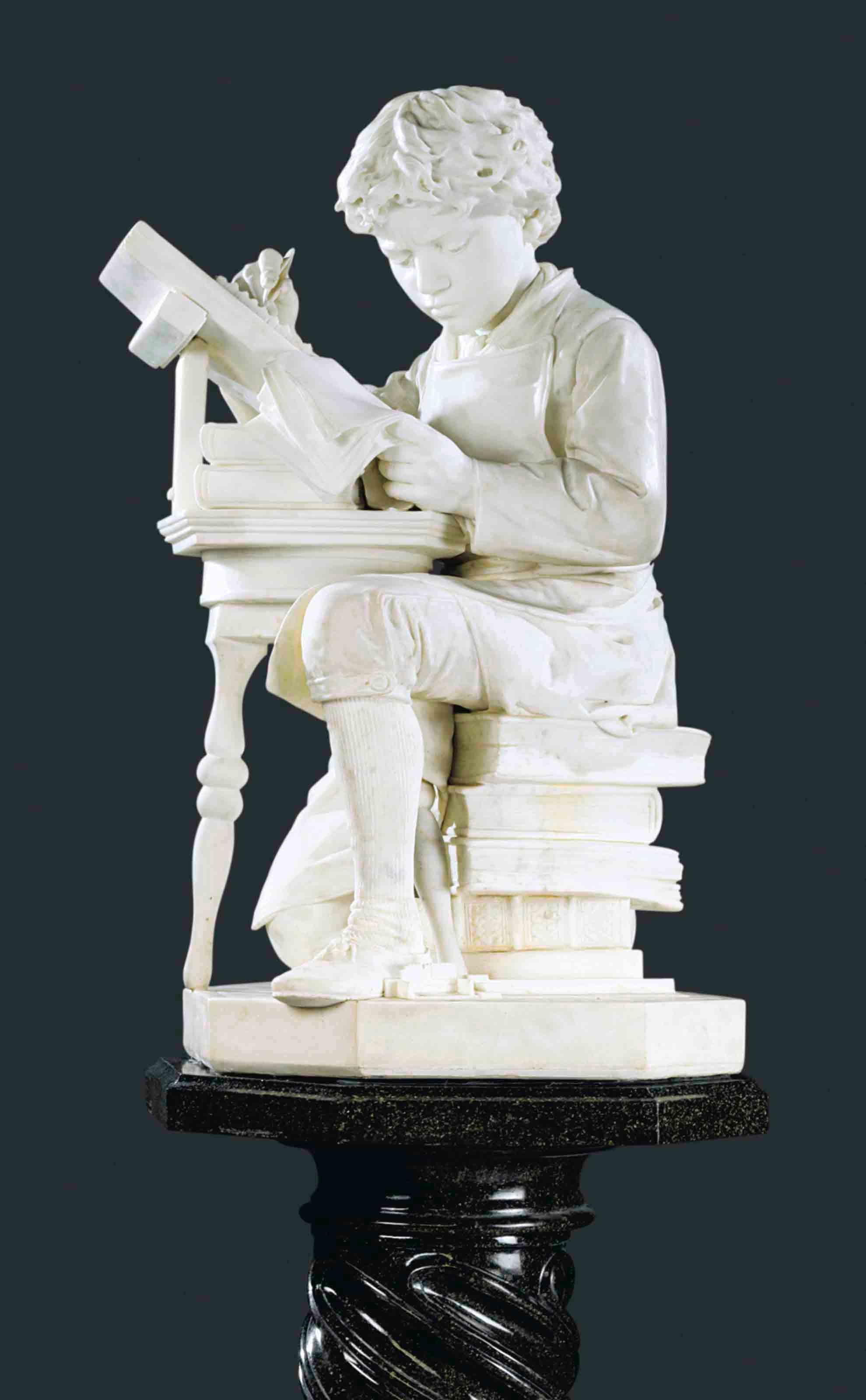A ITALIAN MARBLE FIGURE OF A BOY, POSSIBLY THE YOUNG MARK TWAIN