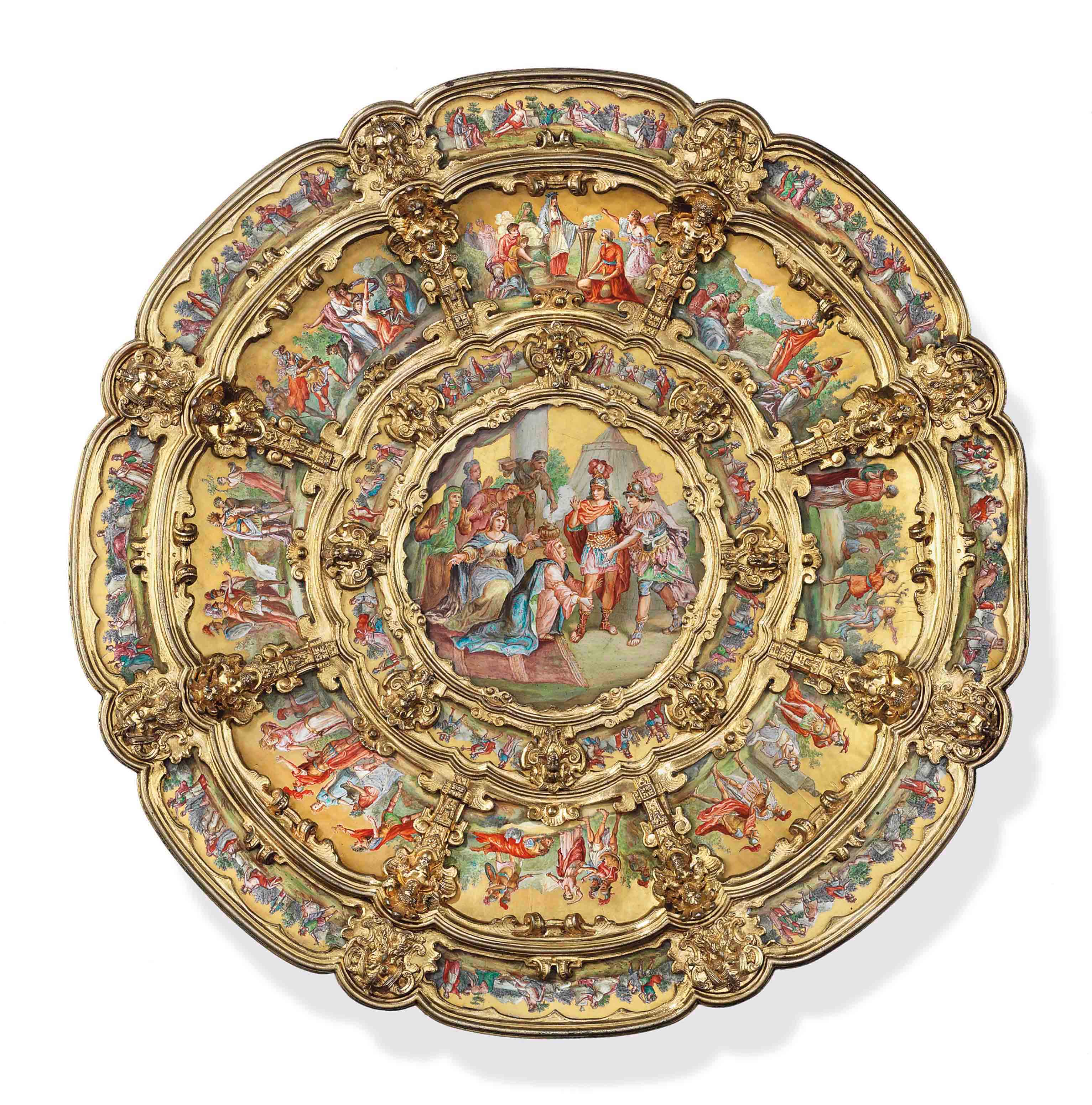 A VIENNESE SILVER-GILT AND ENAMEL CHARGER
