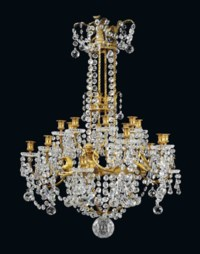 A FRENCH ORMOLU AND CRYSTAL TWENTY-LIGHT CHANDELIER