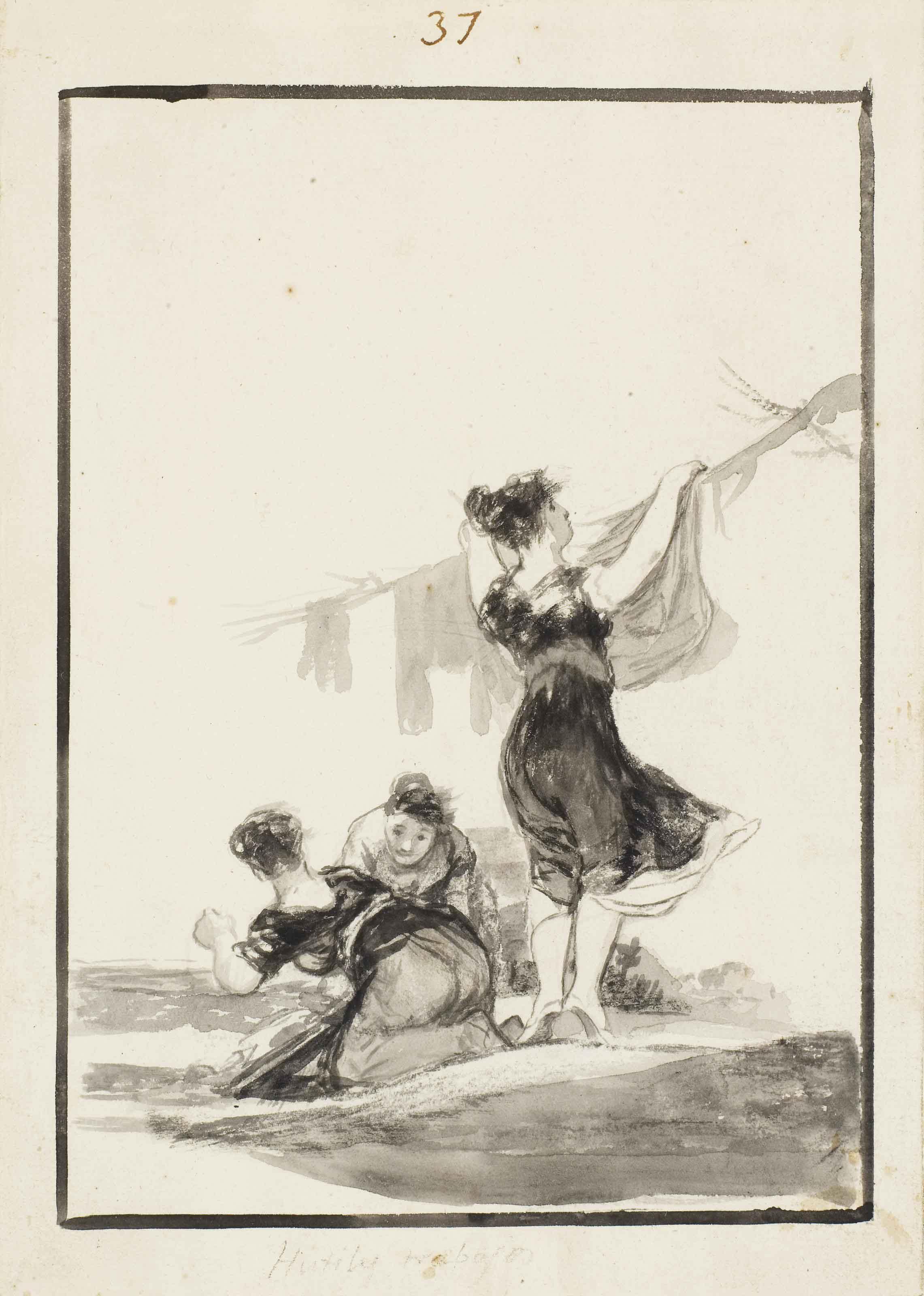 法兰西斯科·戈雅(1746年生于丰德托多斯,1828年卒于波尔多),《有用的工作》。10⅜x 7⅜吋(26.3 x 18.6公分)。此作于2011年7月5日在佳士得伦敦售出,成交价2,281,250英镑