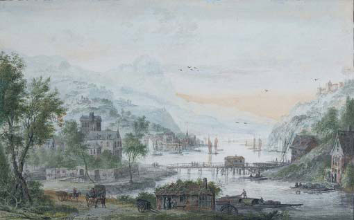 View of a riverside town with a bridge