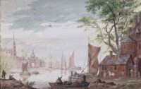 View of a walled town on an estuary