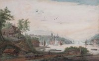 View of a riverside town with shipping and barges