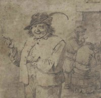 A laughing peasant with a pipe, gamblers beyond
