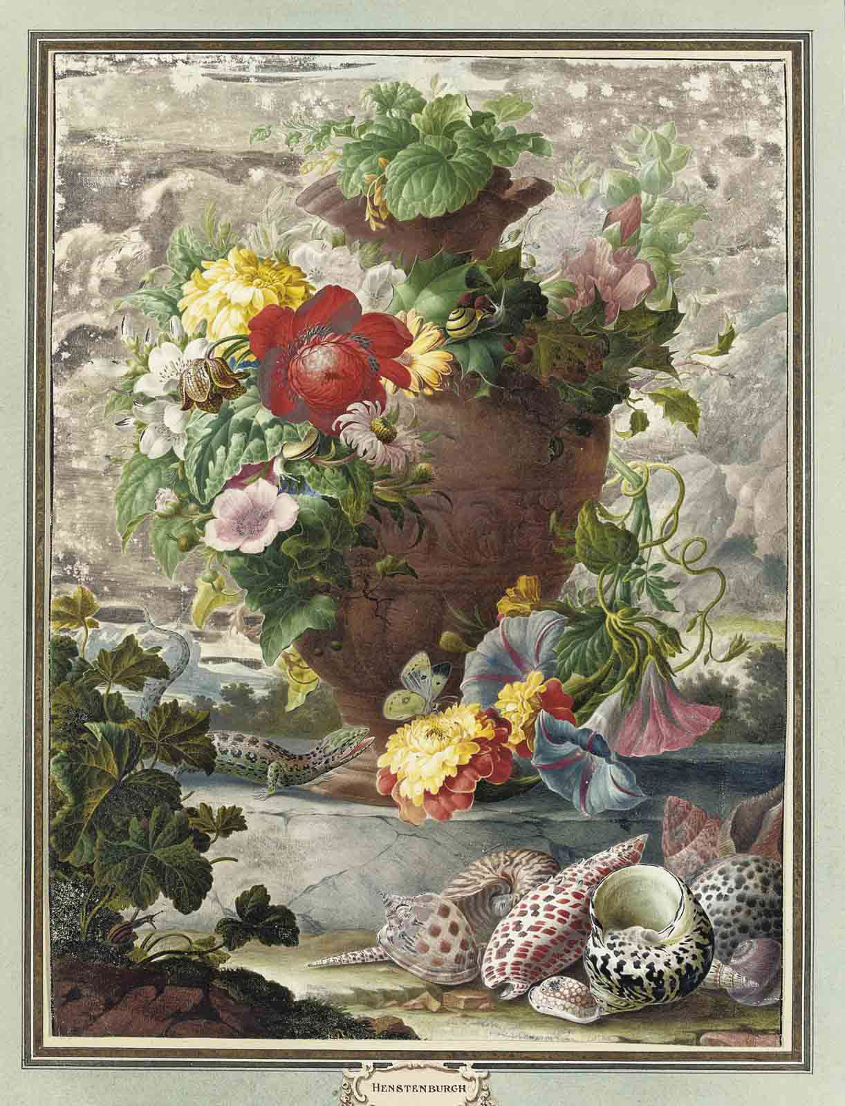 A spray of chrysanthemums, a fritillary, pink hollyhock, morning glory and a red dahlia in an urn, with various shells and a lizard in the foreground
