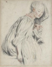 A seated young woman, in a loose robe, her eyes downcast
