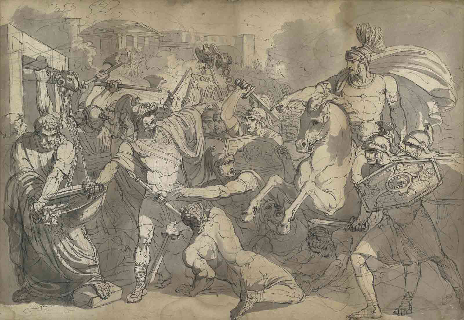 Marcus Furius Camillus liberating Rome from the Gauls (recto); A compositional study of the same subject (verso)
