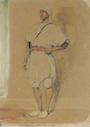Eugène Delacroix (1798-1863), A standing Moroccan. Pencil, watercolour. 12¾ x 9½  in (32.5 x 24  cm). Sold for £85,250 on 5 July 2011 at Christie's in London