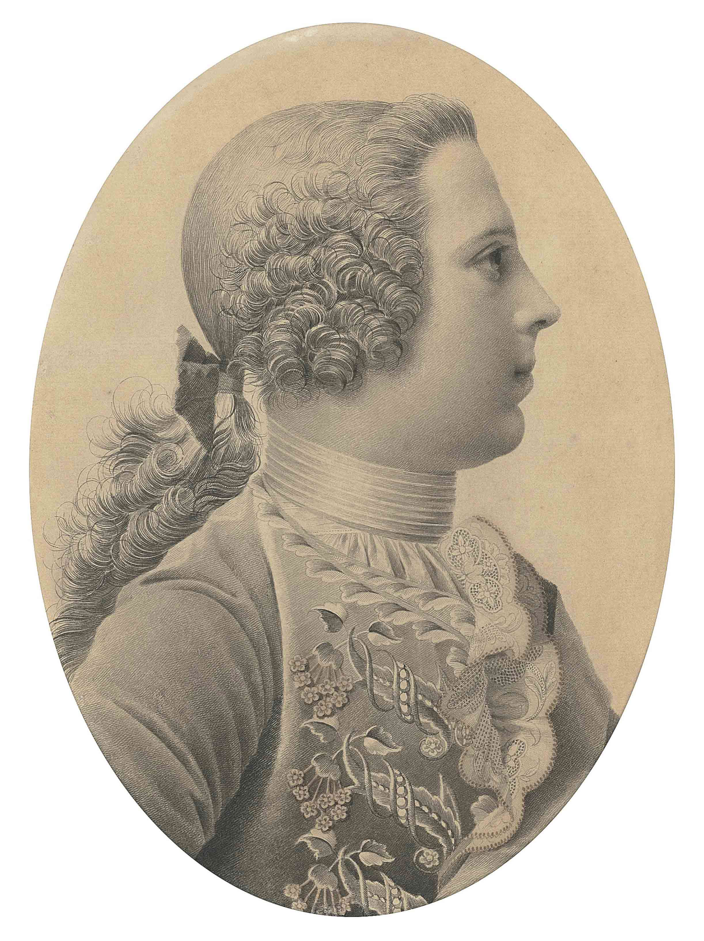 Portrait of Prince Charles Edward Stuart (1720-1788), 'Bonnie Prince Charlie', bust-length, in profile, facing to the right