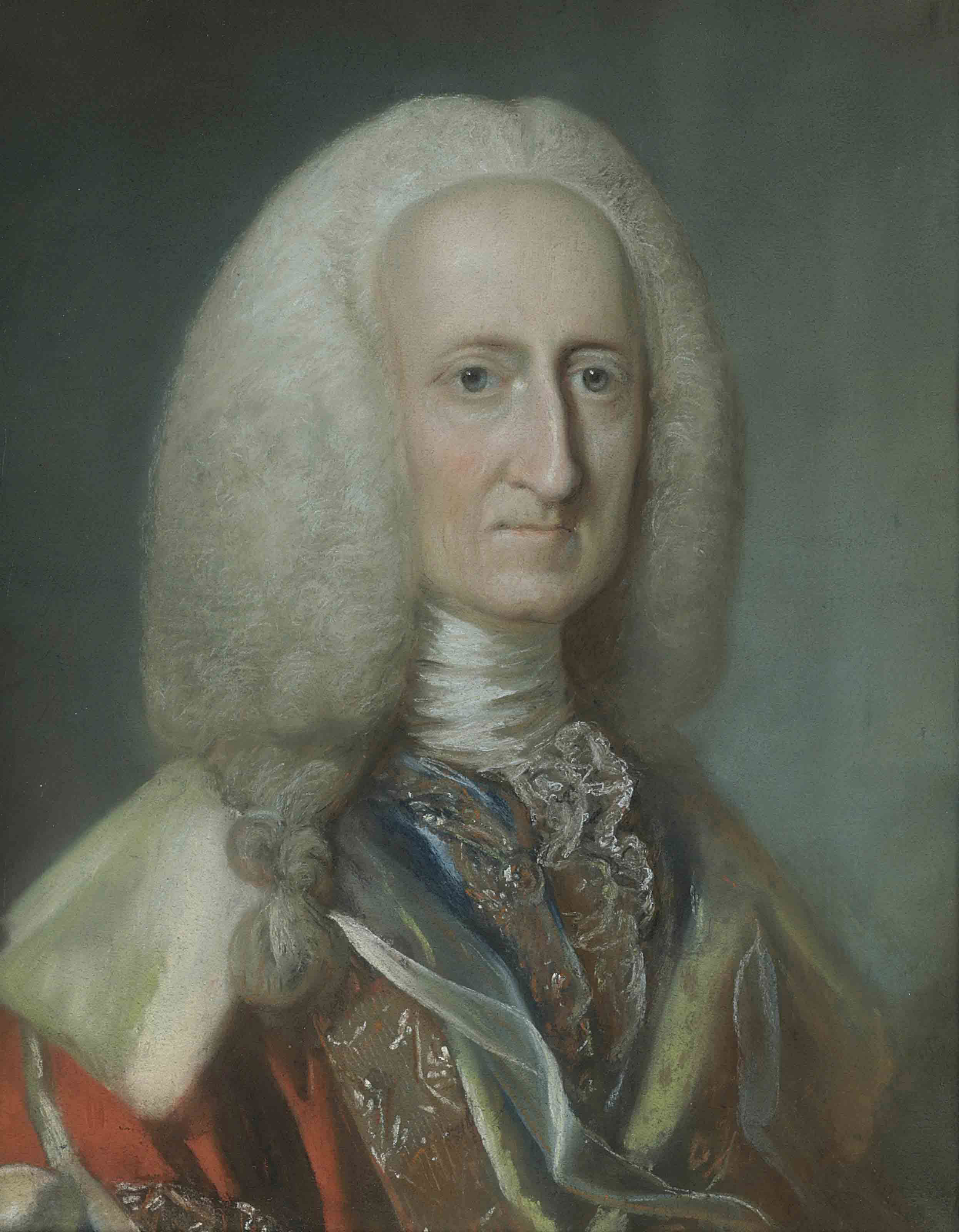 Portrait of George, 1st Baron Lyttelton of Frankley (1709-1773), bust-length, in a red mantle and a white stock