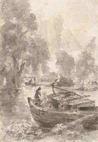 John Charles and Maria Louisa Constable fishing from a barge at Flatford Mill