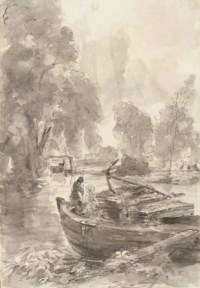 John Charles and Maria Louisa Constable fishing from a barge at Flatford Mill