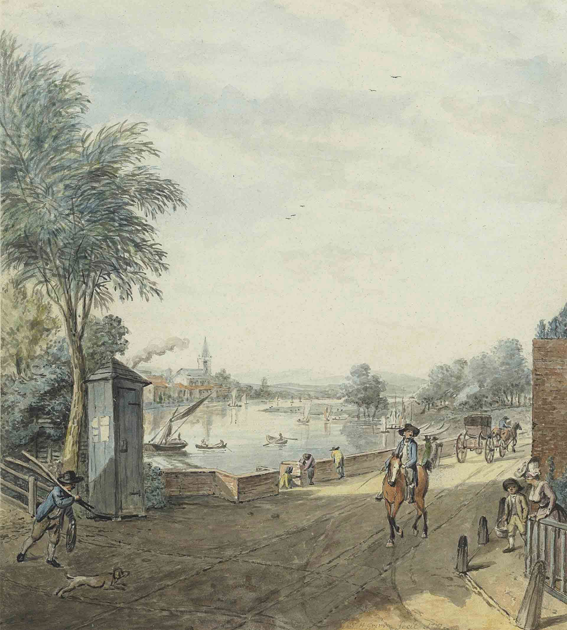 South-western view of the River Thames from the corner of Beaufort Street and Cheyne Walk, Chelsea, London
