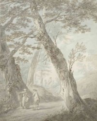 Travellers conversing on a wooded path