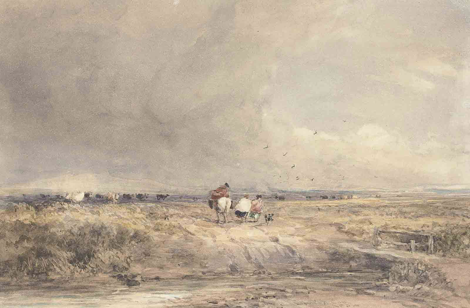 Figures on a track on a windy day, cattle beyond