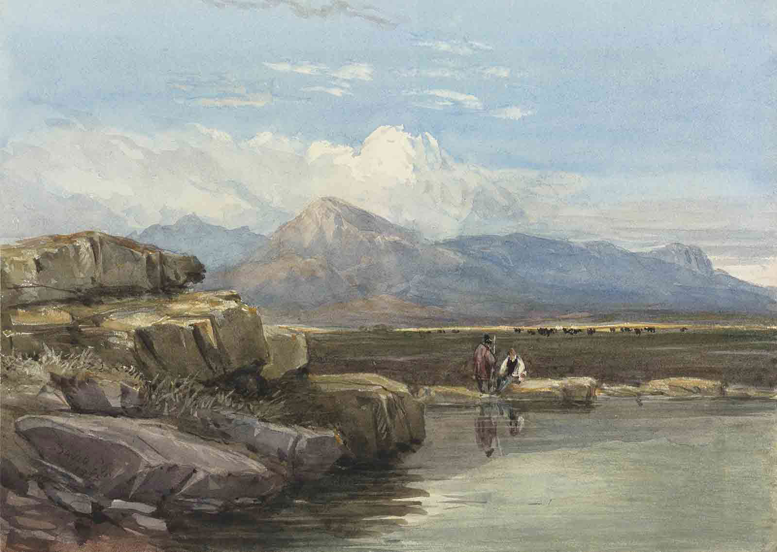 Figures by a rocky pool, Snowdon beyond, North Wales