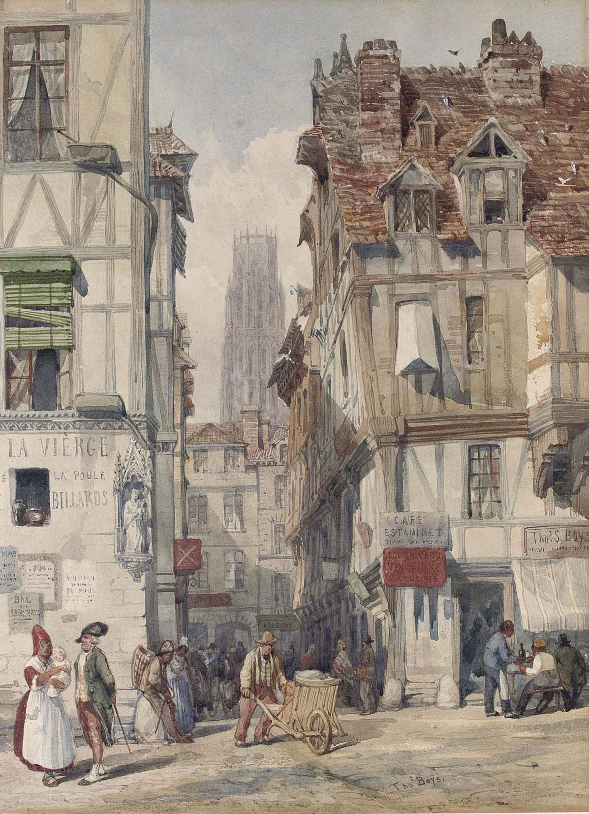 thomas shotter boys n w s london 1803 1874 a street in rouen the church of st ouen beyond. Black Bedroom Furniture Sets. Home Design Ideas