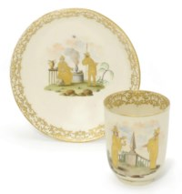 A CAPODIMONTE (CARLO III) CHINOISERIE COFFEE-CUP AND SAUCER