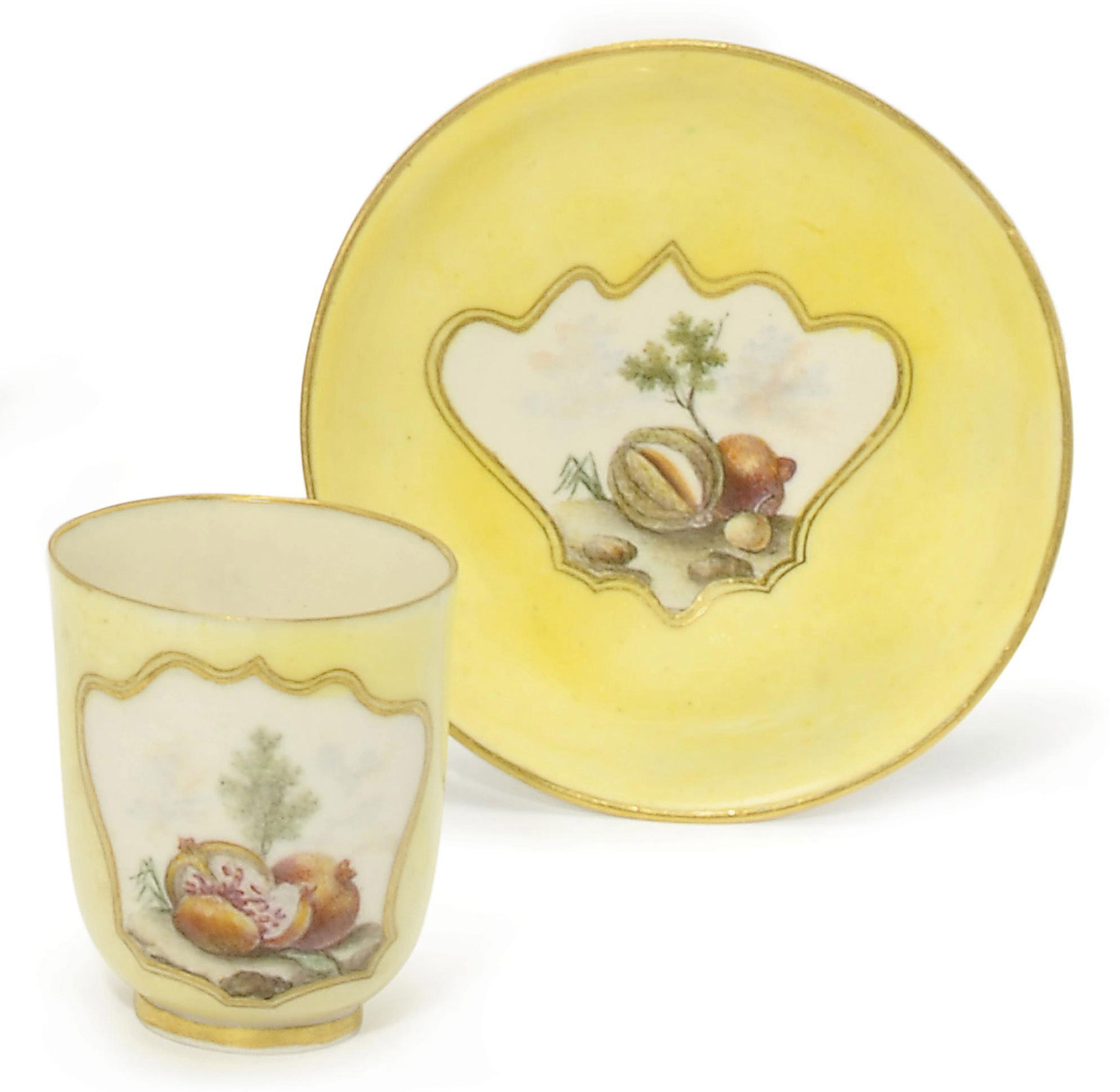 A CAPODIMONTE (CARLO III) YELLOW-GROUND COFFEE-CUP AND SAUCER