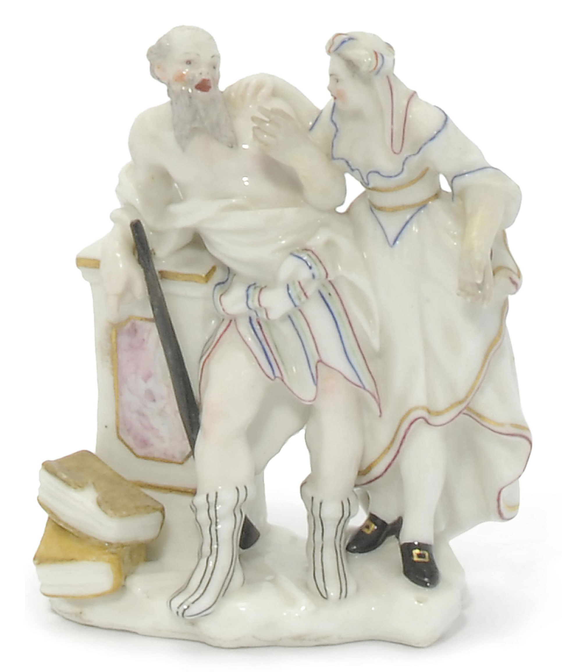 A CAPODIMONTE (CARLO III) GROUP OF SOCRATES AND XANTHIPPE