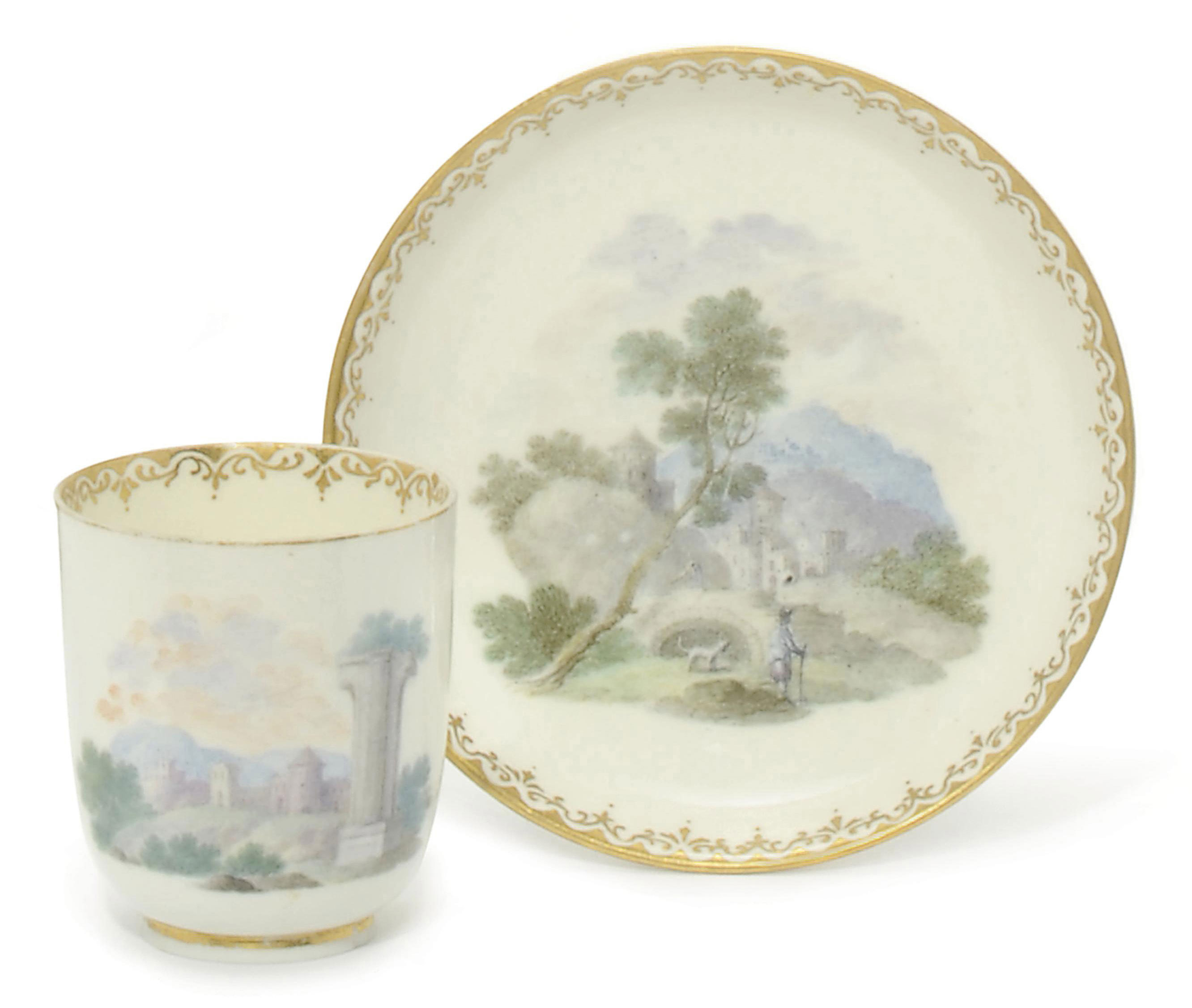 A CAPODIMONTE (CARLO III) CHOCOLATE CUP AND SAUCER