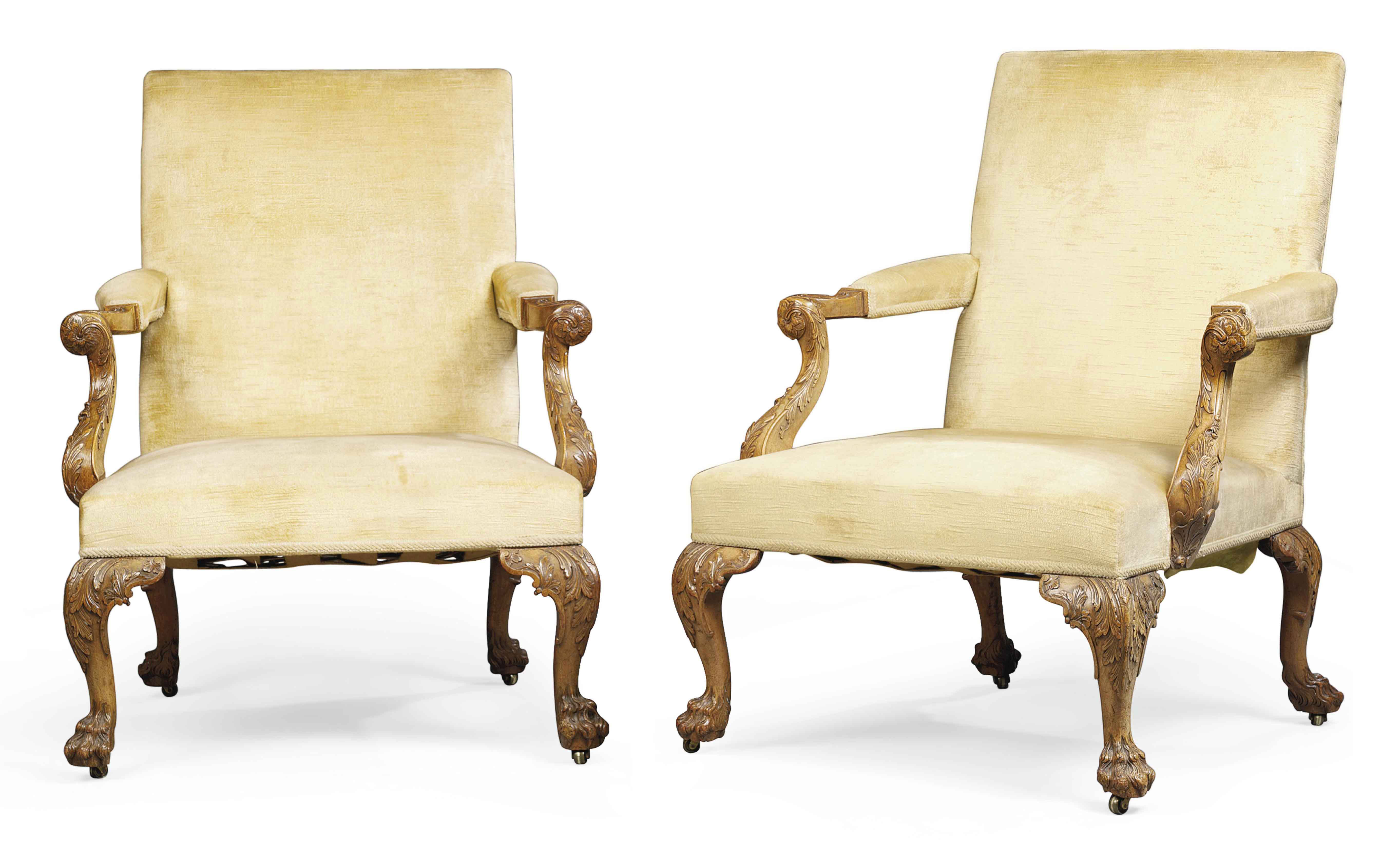 A PAIR OF GEORGE II WALNUT LIB
