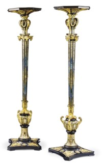 A PAIR OF LOUIS XIV ORMOLU-MOUNTED AND PEWTER-INLAID EBONY AND BLUE-STAINED HORN TORCHERES