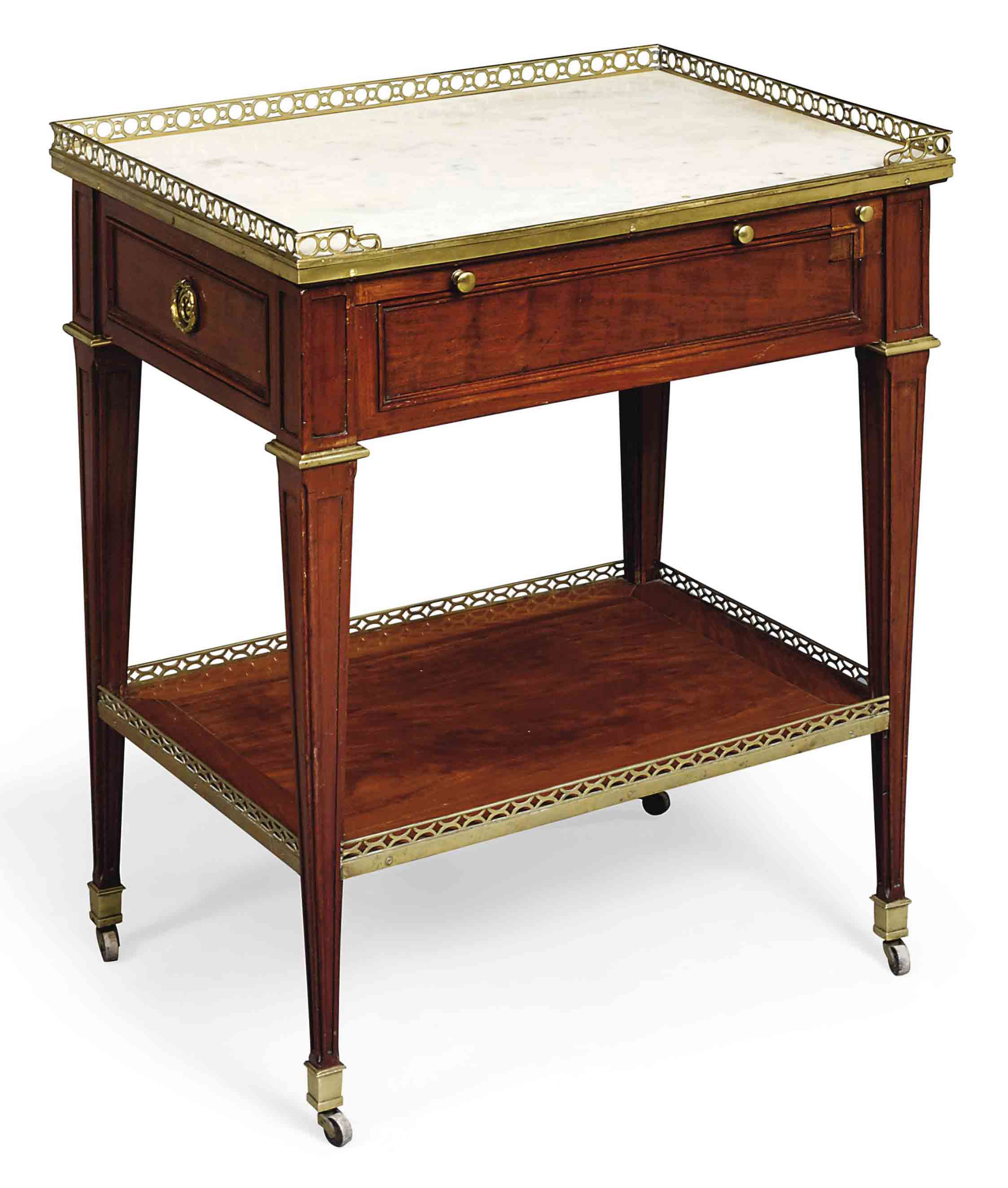 A ROYAL LOUIS XVI ORMOLU-MOUNTED MAHOGANY TABLE-A-ECRIRE