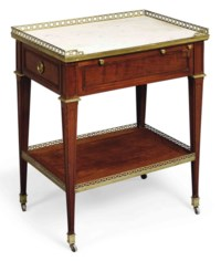 A ROYAL LOUIS XVI ORMOLU-MOUNTED MAHOGANY TABLE-A-ECRIRE
