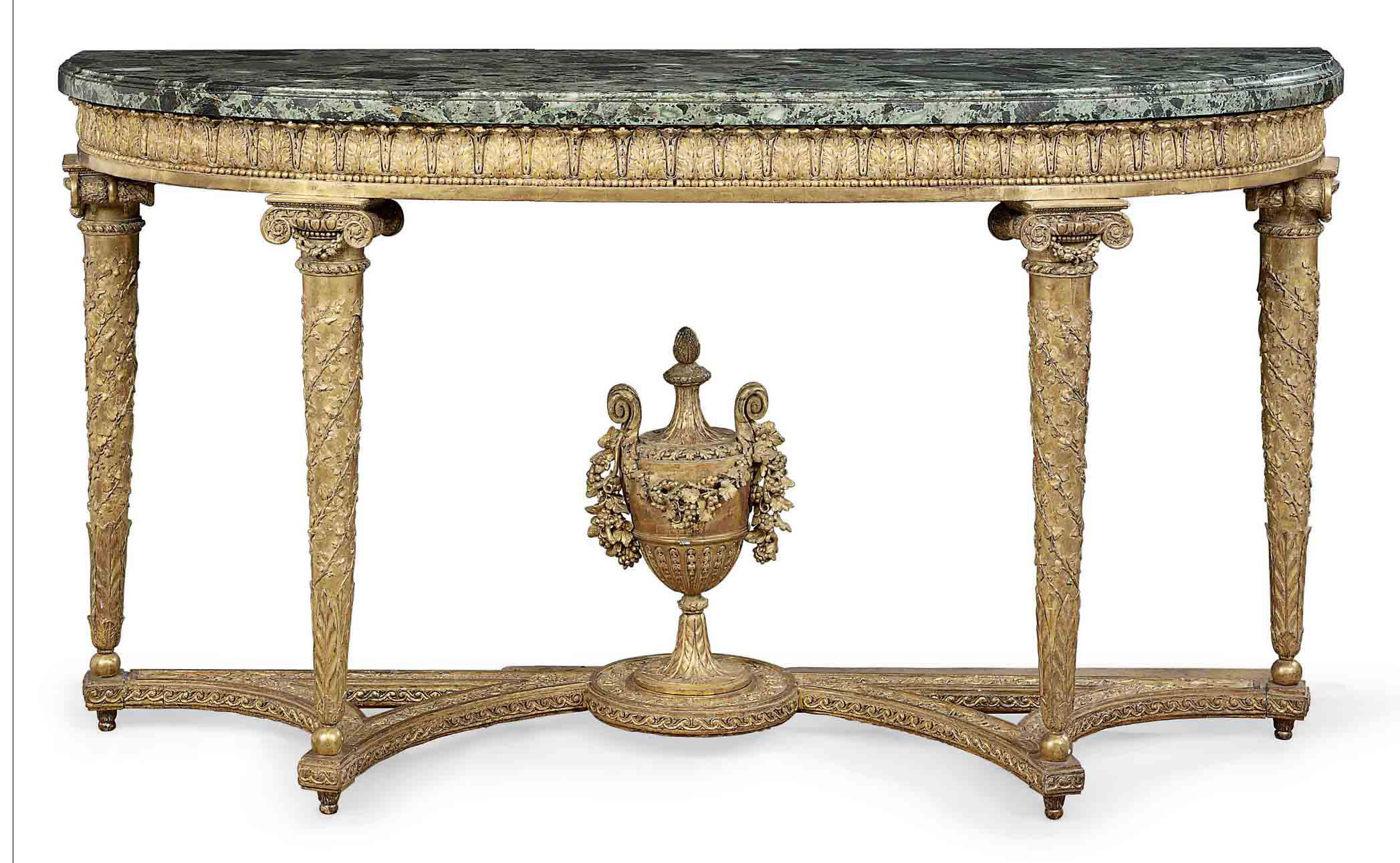 A ROYAL LOUIS XVI GILTWOOD CONSOLE TABLE