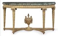 A ROYAL LOUIS XVI GILTWOOD CONSOLE TABLE