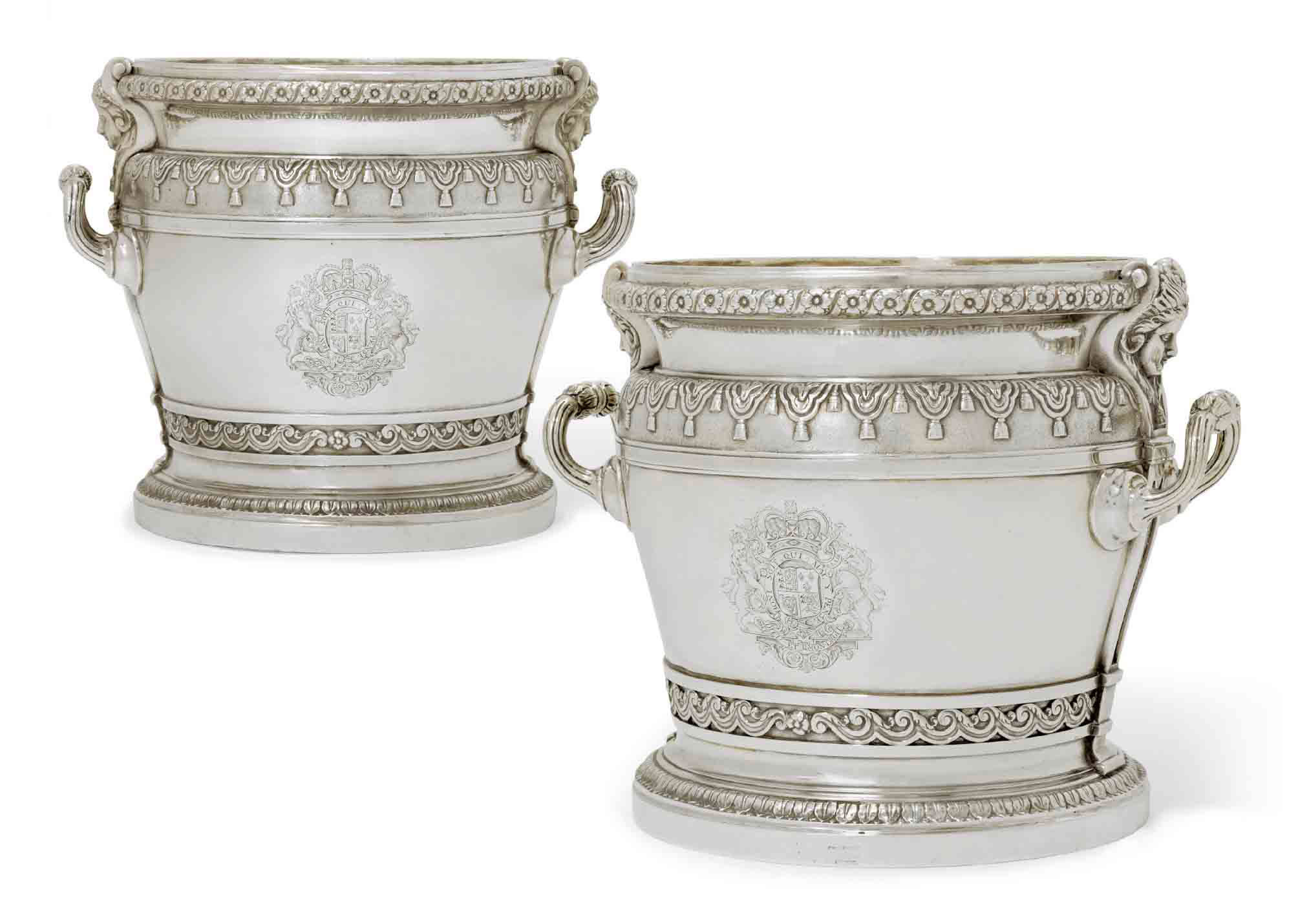 THE BINGLEY-WALPOLE WINE-COOLERS  A PAIR OF QUEEN ANNE SILVER ROYAL AMBASSADORIAL WINE-COOLERS OR ICE-PAILS