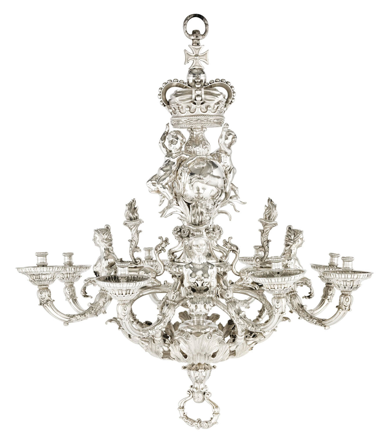 THE GIVENCHY ROYAL HANOVER CHANDELIER A GERMAN SILVER EIGHT-LIGHT CHANDELIER