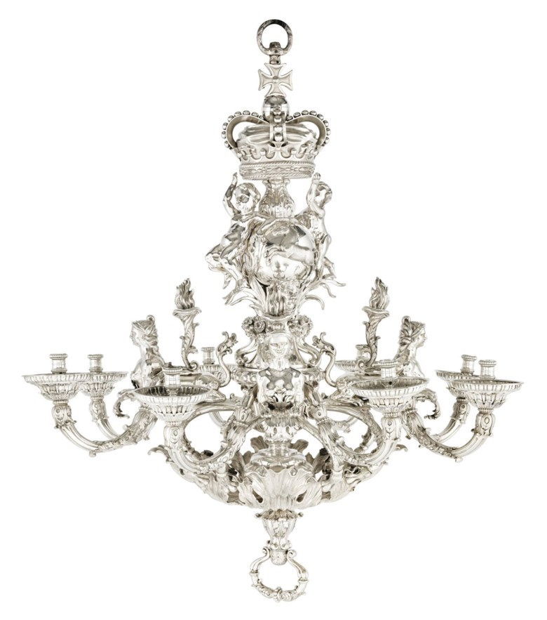 The Givenchy Royal Hanover Chandelier, a German silver eight-light chandelier, by Balthasar Friedrich Behrens, Hanover, delivered 13 September 1736, designed by the kings architect, William Kent. Sold for £5,753,250 on 7 July 2011 at Christie's in London