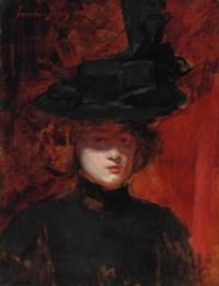 Portrait of a woman in a black dress and hat