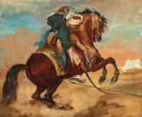 Turc monté sur un cheval alezan brûlé