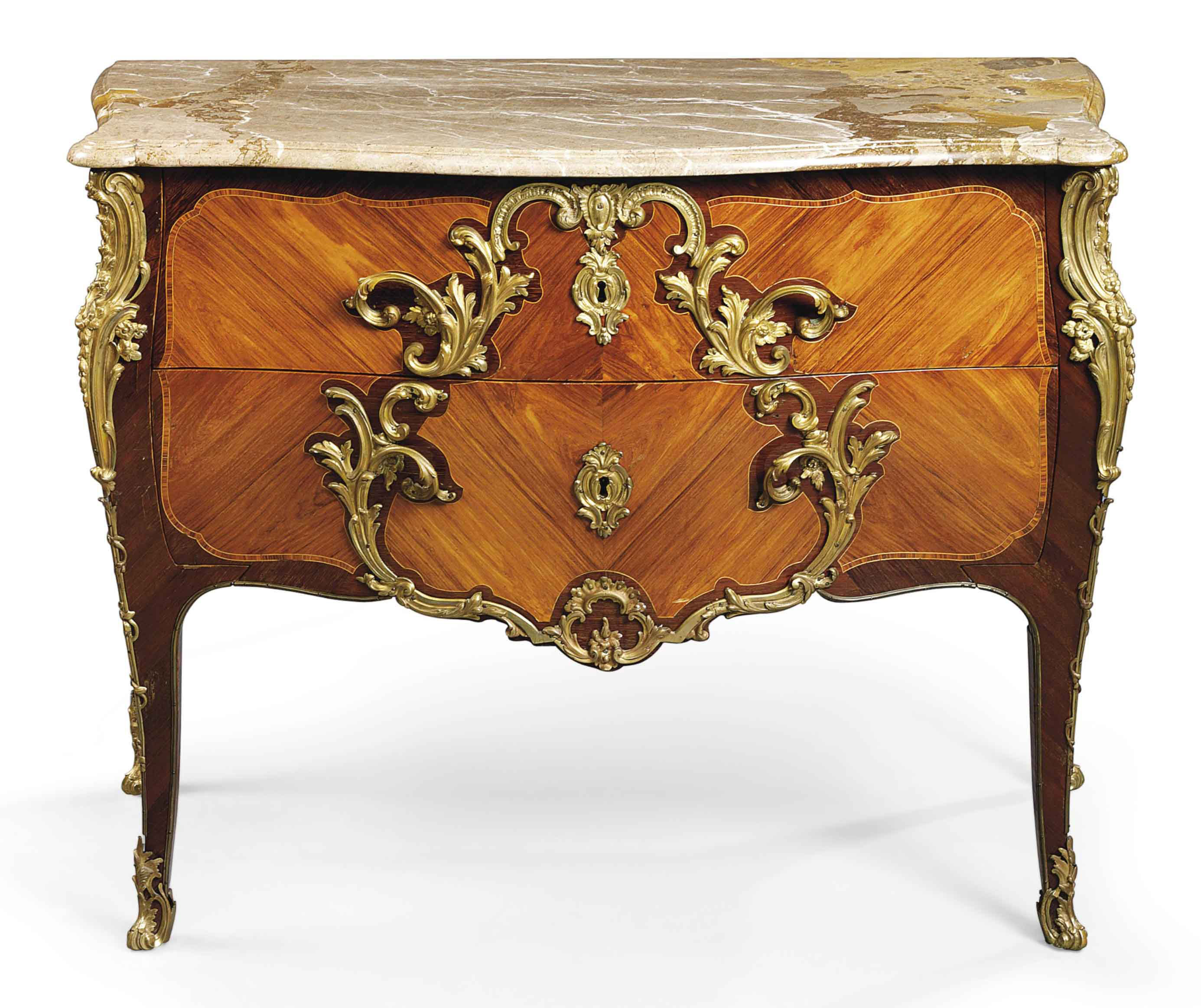 A LOUIS XV ORMOLU-MOUNTED TULIPWOOD AND AMARANTH COMMODE